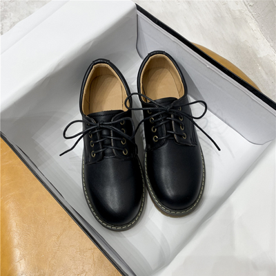 Women's  retro British style lace-up flat soft leather shoes
