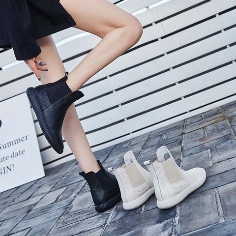 2019 autumn and winter first layer cowhide casual flat high-top Chelsea boots