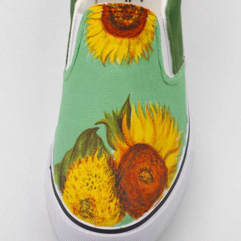 Wild sunflower hand-painted canvas shoes
