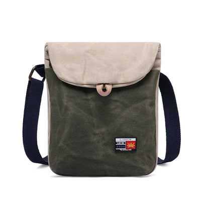 Leather Men's First Layer Leather Men's Canvas Crossbody Bag
