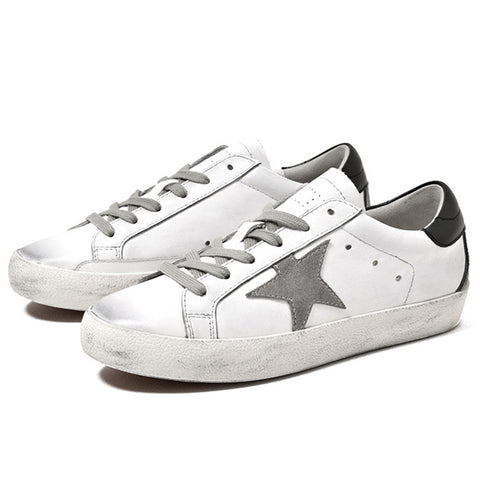 Star Patchwork Lace-Up Hollow Round Toe Flat Heel Sneakers