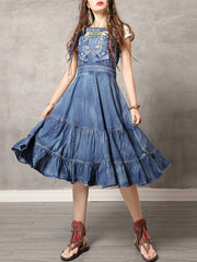 Ethic Embroidery Spaghetti Patchwork Backless A-Line Denim Dresses