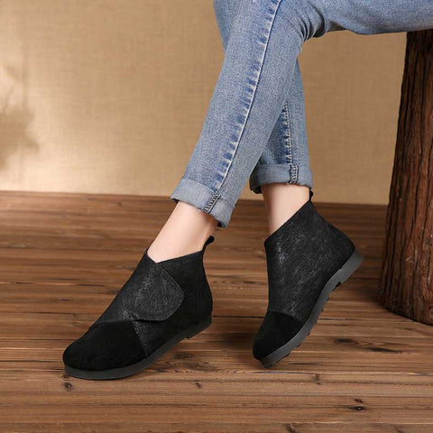 Round head leather retro booties