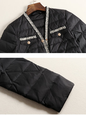 2019 winter new female small fragrance edging rhombic down jacket warm jacket