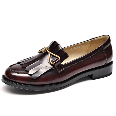 British Knot Tassel Hollow Leather Round Toe Low Heel Loafers
