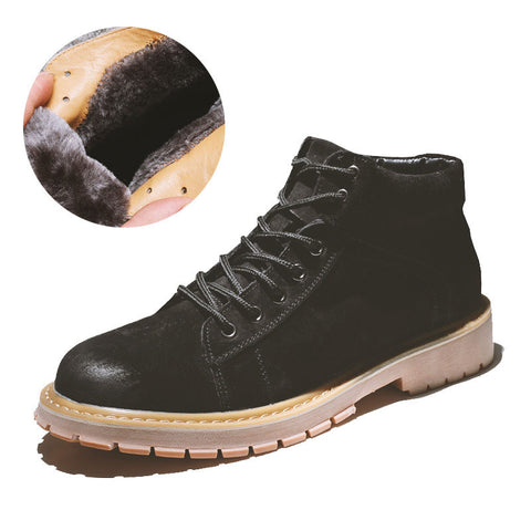 Winter new leather plus velvet warm high-top men's shoes desert boots British tide boots mid-help tooling short boots