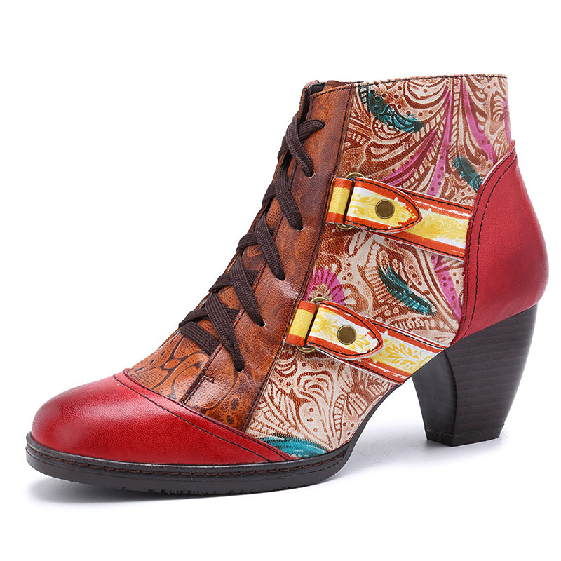 6d5fd3f68d Vintage Lace-Up Round Toe Side Zipper Chunky Heel Ankle Boots