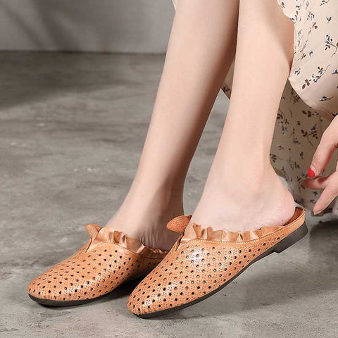 Wild retro Baotou national sandals soft leather slippers