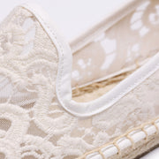 Lace See-Through Slip-On Hollow Breathable Linen Flats