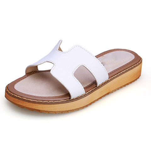 Large Size Hollow Open Toe Solid Color Slip-On Leather Sandals