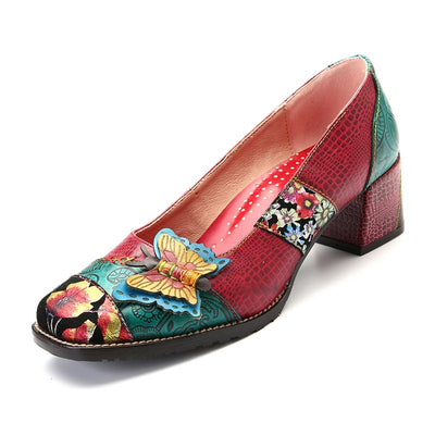 Elegant 3D Butterfly Patchwork Floral Print Leather Pumps