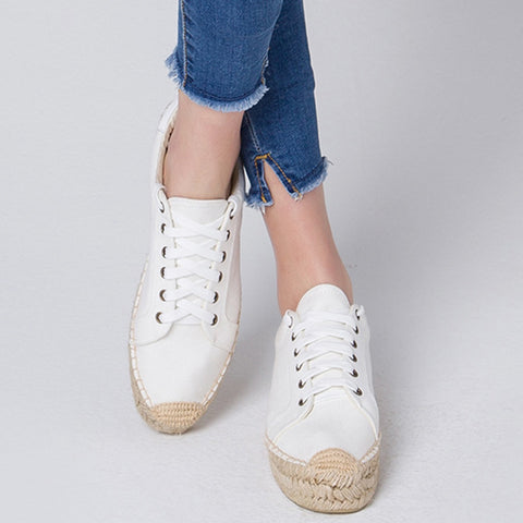Casual Solid Color Round Toe Lace-Up Flat Heel Cotton Flats