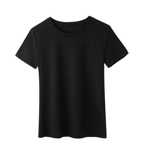 Round neck solid color short sleeve