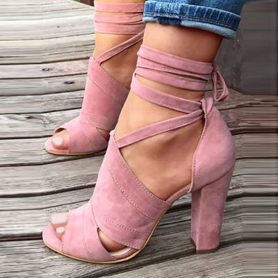 Peep Toe Hollow Lace-Up Chunky Heel Suede Sandals