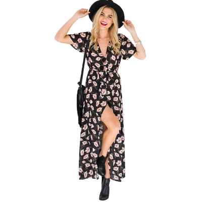 V-neck black bottom color matching small floral dress