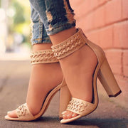 Vintage Wheat Ankle Strap Open Toe Chunky Heel Sandals