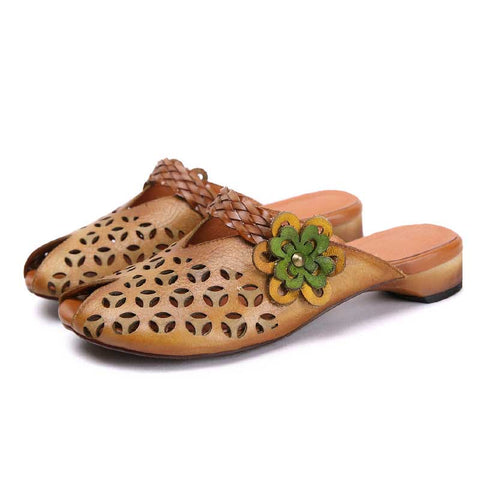 Flower hollow ladies leather slippers