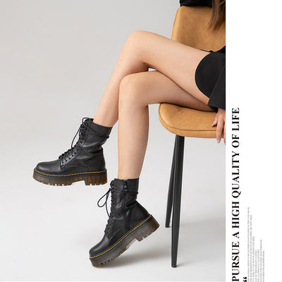 Autumn new cowhide Martin boots women's British style thick-soled high boots handsome black motorcycle boots