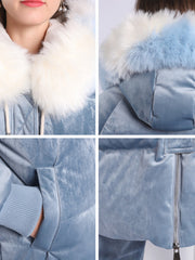 2019 winter new European and American style large fur collar thicker long section slim white duck down jacket