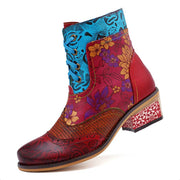 Floral Patchwork Round Toe Lace-Up Low Heel Boots