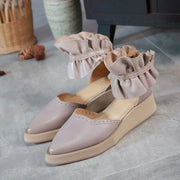Ruffle Point Toe Platform Ankle Strap Leather Sandals