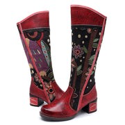 Embroidery Leather Chunky Heel Round Toe Knee High Red Boots