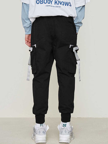 Stitching multi-bag men's elastic waist beam legs carrot pants