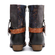 New casual leather printing retro classic high-grade flat bottom short cowboy boots women's boots