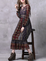 Vintage See-Through Long Sleeve Floral V--Neck Lace-Up Maxi Dresses