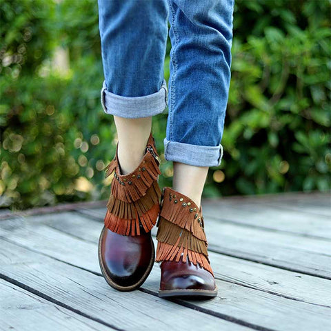 New classic fashion comfortable and comfortable handmade leather stitching fringed cowboy boots ankle boots