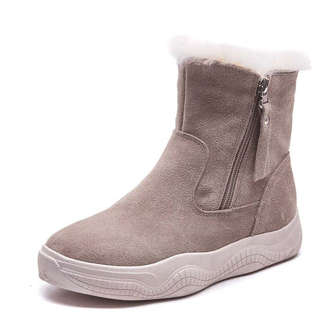 2019 winter new short tube thick bottom fur Martin boots plus velvet casual Korean version of the wild cotton shoes snow boots