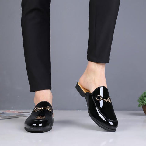 2019 summer men's bright leather toe cap British style semi-slippers men's shoes