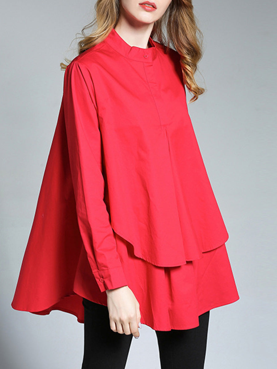 Brief Solid Color Asymmetric Stand Collar Long Sleeve Pleated Blouses