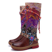 New Round Head Comfortable Casual Retro Leather Women's Boots Knee Women's Flat Boots