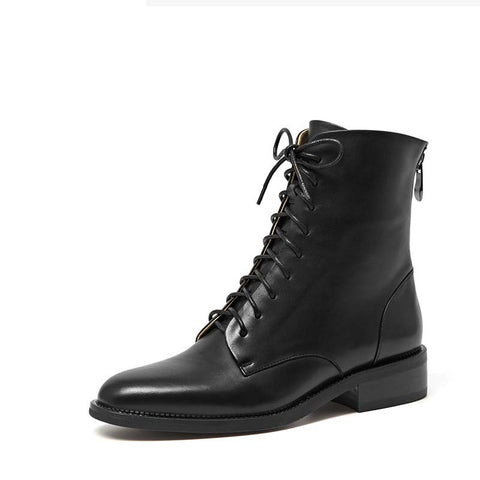 Autumn new women's thick with round leather Martin boots