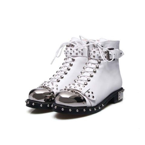 Metal square head rivet with locomotive Martin boots women's shoes
