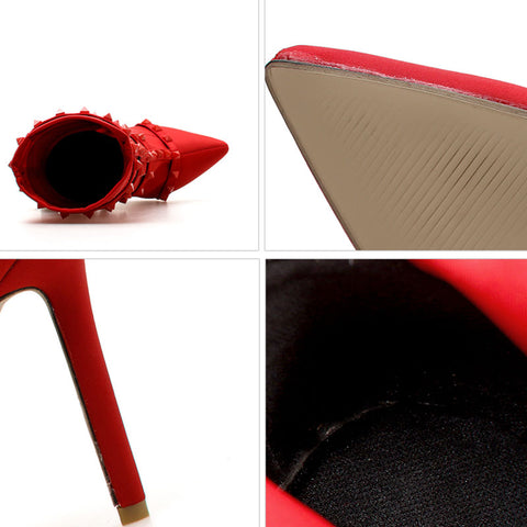 Plus Size Solid Color Rivets Belt Point Toe Suede Stiletto Heel Boots