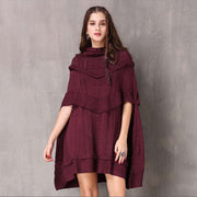 Autumn and winter new retro high collar large size cloak knit dress