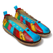 Rainbow Color Block Patchwork Lace-Up Flat Heel Round Toe Loafers