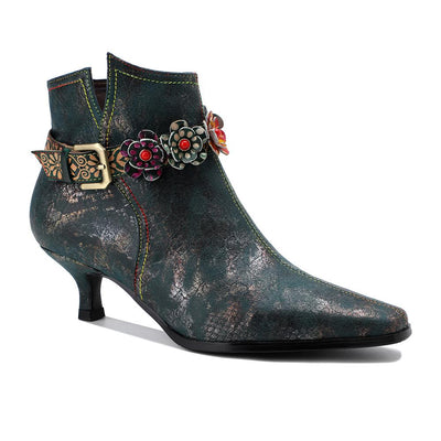 Women's new retro British style dark streaks flower strap-buckle low heel stiletto ankle boots