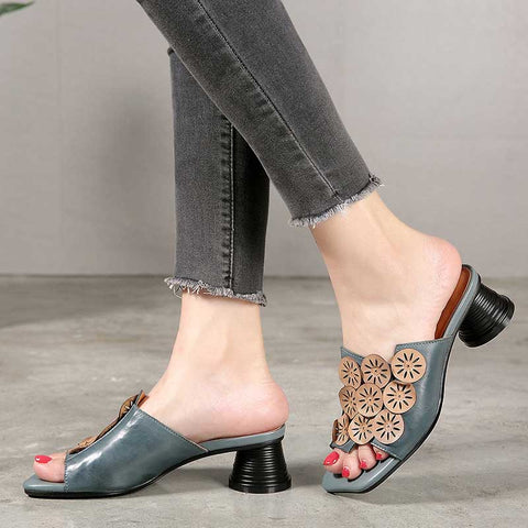 Ethnic style flower leather fashion casual open toe high heel women sandals