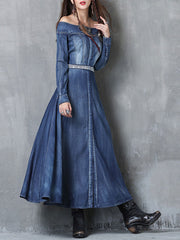 Vintage Long Sleeve One Shoulder Buttons Cardigan Belt Denim Dresses
