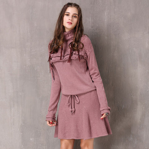 Winter new ruffled retro casual turtleneck dress