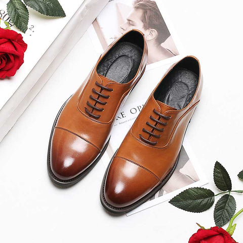 Summer new men's breathable dressing three-connector leather shoes men's British fashion pointed work business men's shoes