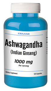 Ashwagandha Indian Ginseng 1000mg High Potency Big Bottle 120 Capsules CH