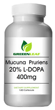 Load image into Gallery viewer, Mucuna Pruriens 400mg Natural L-DOPA 20% BEST DEAL 120 Capsules GL