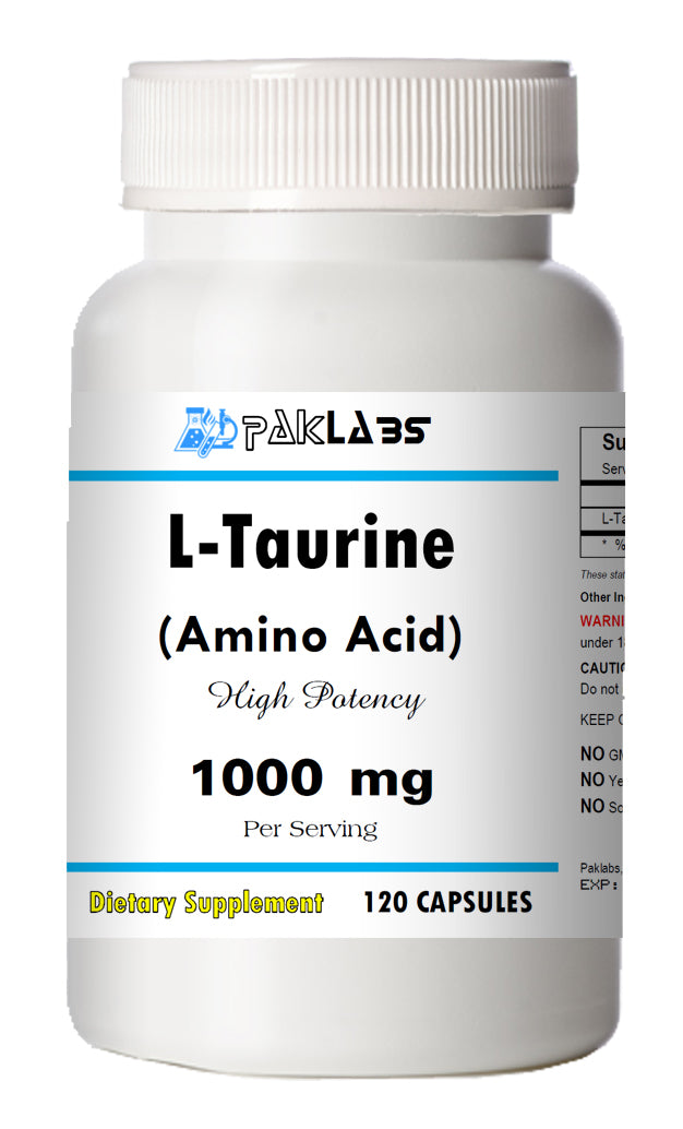 L-Taurine Amino Acid 1000mg Per Serving 120 Capsules Big Bottle USA Shipping PL