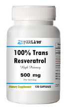 Load image into Gallery viewer, Trans Resveratrol 500mg Serving High Potency 120 Capsules Big Bottle NEW STOCK PL