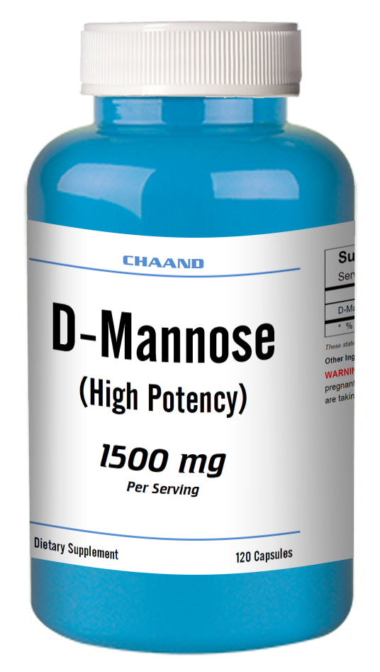 D-Mannose 1500mg Serving High Potency Big Bottle 120 Capsules CH Blue