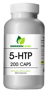 5-HTP 200mg Serving Big Bottle 200 Capsules Greeen Leaf
